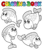 Libro de colorear con cuatro peces — Vector de stock