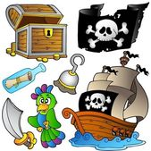 Pirate collection with wooden ship — Stock Vector