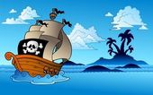 Pirate ship with island silhouette — Stock Vector