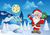 Santa Claus near small village 1 — Stock Vector