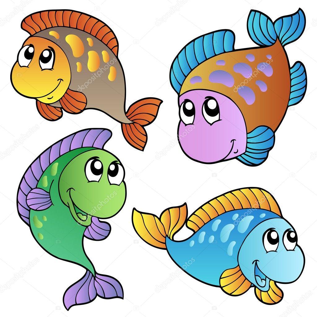 vier cartoonfische — stockvektor 4199034