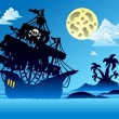 Pirate ship silhouette with island — Stock Vector #4233334