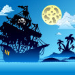 Stock Vector: Pirate ship silhouette with island