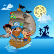 Royalty-Free Stock Vector Image: Three pirates and island silhouette