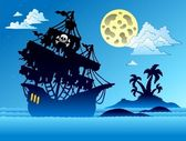 Pirate ship silhouette with island — Stock Vector