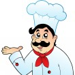 Cartoon chef in big hat - Stock Vector