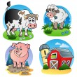 Various farm animals 1 — Vettoriali Stock
