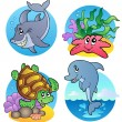Stock Vector: Various sea animals and fishes