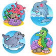 Various water animals and fishes 1 — Stock Vector