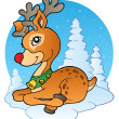 Stock Vector: Young Christmas reindeer outdoor 1