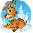 Young Christmas reindeer outdoor 1 — Stock Vector