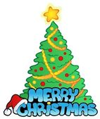 Merry Christmas sign with tree — Vector de stock