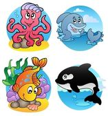 Various aquatic animals and fishes — Stock Vector