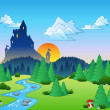 Stock Vector: Fairy tale landscape 1
