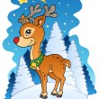 Christmas reindeer with comet — Stock Vector