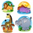 Stock Vector: Various tropical animals 1