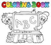 Coloring book with school images 2 — Stock Vector