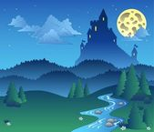Fairy tale landscape at night 1 — Stock Vector