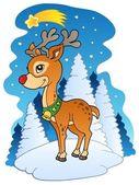 Christmas reindeer with comet — Stock Vector