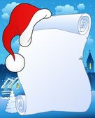Christmas scroll with hat 2 — Stock Vector