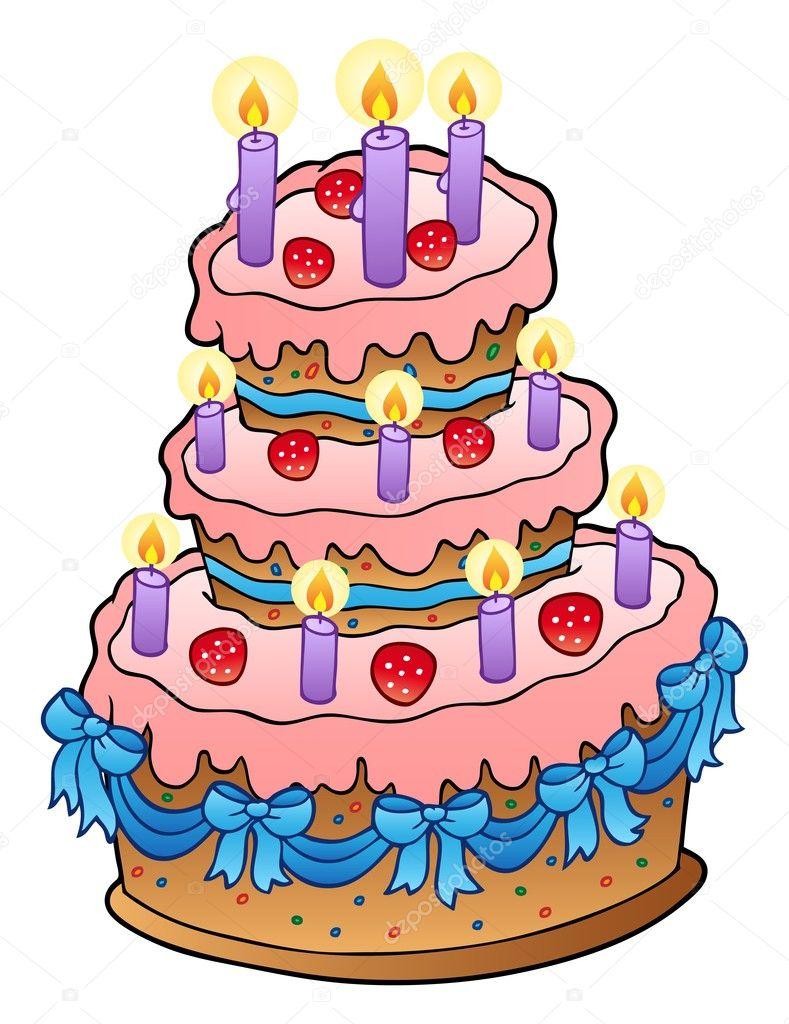 蛋糕蜡烛和丝带-矢量图— 矢量图片作者 clairev