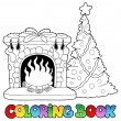 coloring book with fireplace — Stock Vector