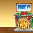 Stock Vector: Christmas card with fireplace 1