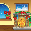 Stock Vector: Christmas card with fireplace 2