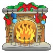 Christmas cartoon fireplace — Stock Vector