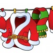 Christmas costume on clothesline — Vector de stock