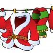 Vector de stock : Christmas costume on clothesline