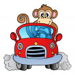 Monkey in car - Stock Vector