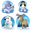 Various cute winter animals — Stok Vektör