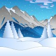 Stock Vector: Winter landscape with hills