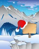 Christmas board in winter landscape — Stock Vector