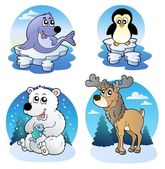 Various cute winter animals — Vector de stock