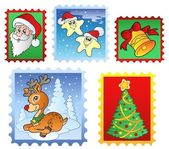 Various Christmas post stamps 1 — Stock Vector