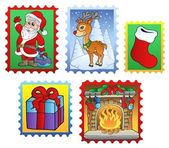 Various Christmas post stamps 2 — Stock Vector