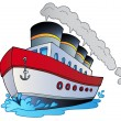 Royalty-Free Stock Vector Image: Big cartoon steamship