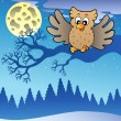 Cute flying owl in snowy landscape — Stock Vector #4525418