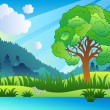Landscape with leafy tree and lake — Stock Vector #4525432