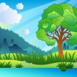 Landscape with leafy tree and lake - Stock Vector