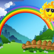 Royalty-Free Stock Vector Image: Landscape with rainbow and Sun