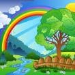 Landscape with rainbow and tree - Stock Vector