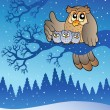 Owl family in winter — Stock Vector #4525451