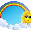 Rainbow with Sun and clouds — Stock Vector #4525452