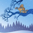 Two cute birds in snowy landscape - Imagen vectorial