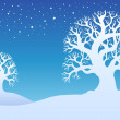 Two winter trees with snow 1 — Stock Vector