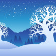 Stock Vector: Two winter trees with snow 2