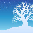 Winter tree with snow 2 — Stock Vector